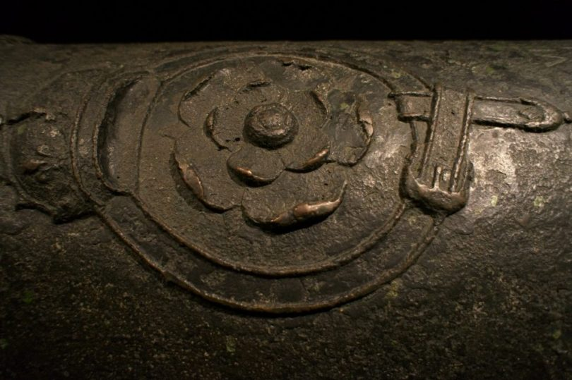 The Tudor Rose on an original canon raised from the seabed after 437 years