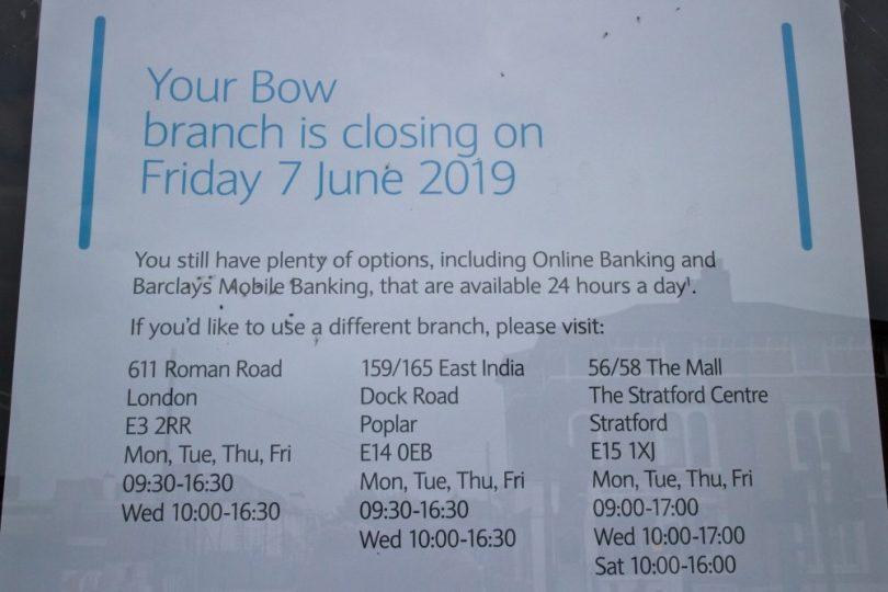 Barclays beside Bow Church DLR is closing