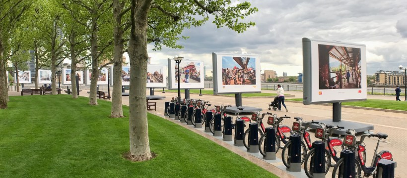 Streets of the world - outdoor exhibition at Canary Wharf of photos by Jeroen Swolfs