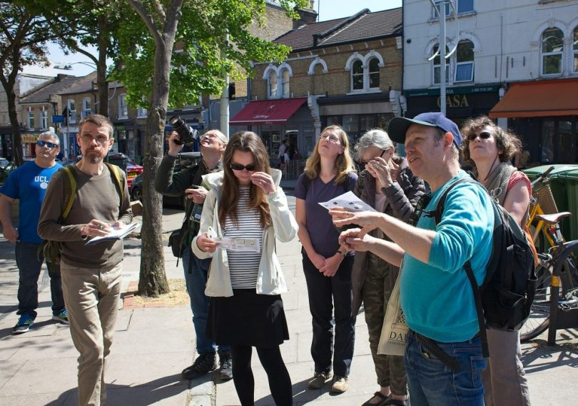 Paul Wood leading his exploration of the urban forest in Peckham last year.