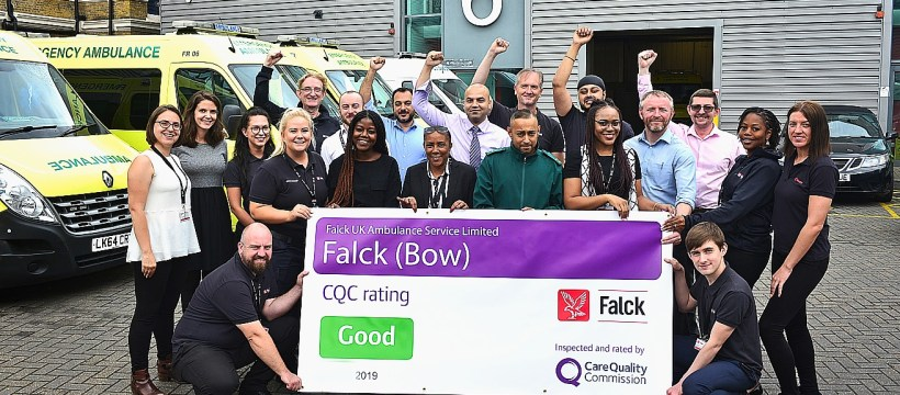 Team photo: Care Quality Commission award to FALCK Ambulance Services Ltd, based at Bow, east London