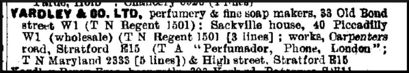 The Yardley works listed at Carpenter's Road in the 1939 Post Office Directory