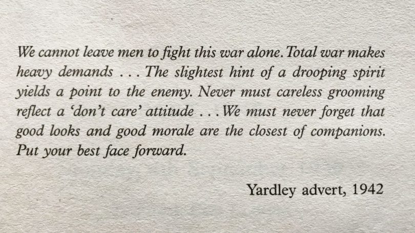 Yardley's 1942 advert in Secrets of the Homefront Girls book