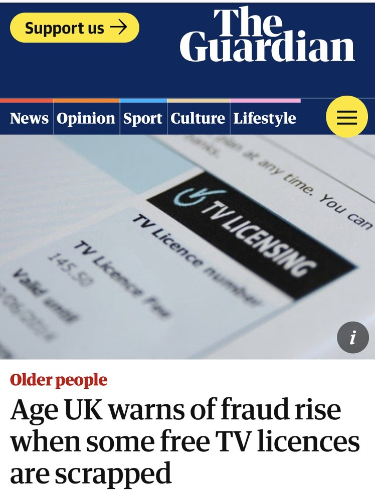 The Guardian warns of fraud rise when free OAP TV Licences are scrapped