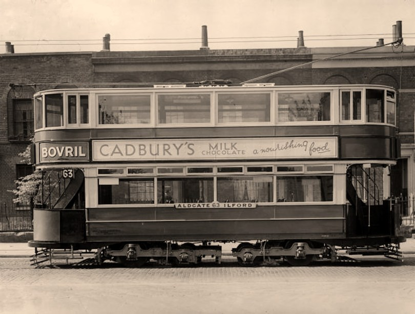 An Aldgate to Ilford tram in Fairfield Road. Bow