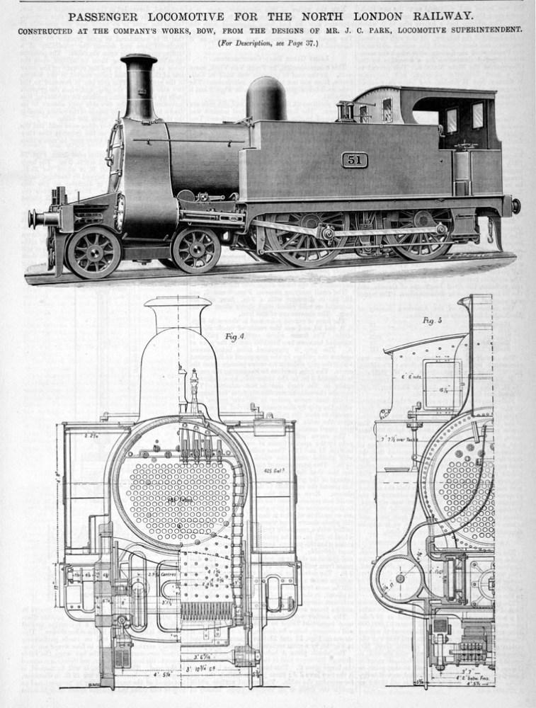 Design for a passenger locomotive built at Bow, 1891