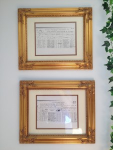 Ship Manifest Documents Hanging in our Livingroom