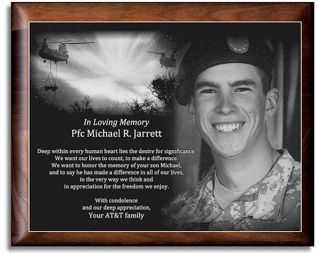 Military Memorial Etched in Marble with Frame 105 x 13