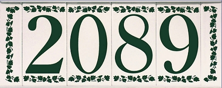 ceramic house numbers with frame vines