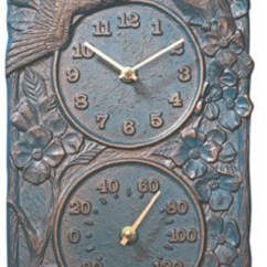Cabin Kitchen Decor Inexpensive Countertops Cardinal Indoor/outdoor Thermometer Wall Clock