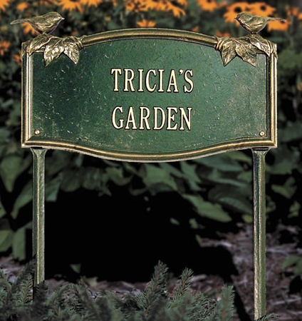 Vine Chickadee Personalized Garden Sign 2 Line