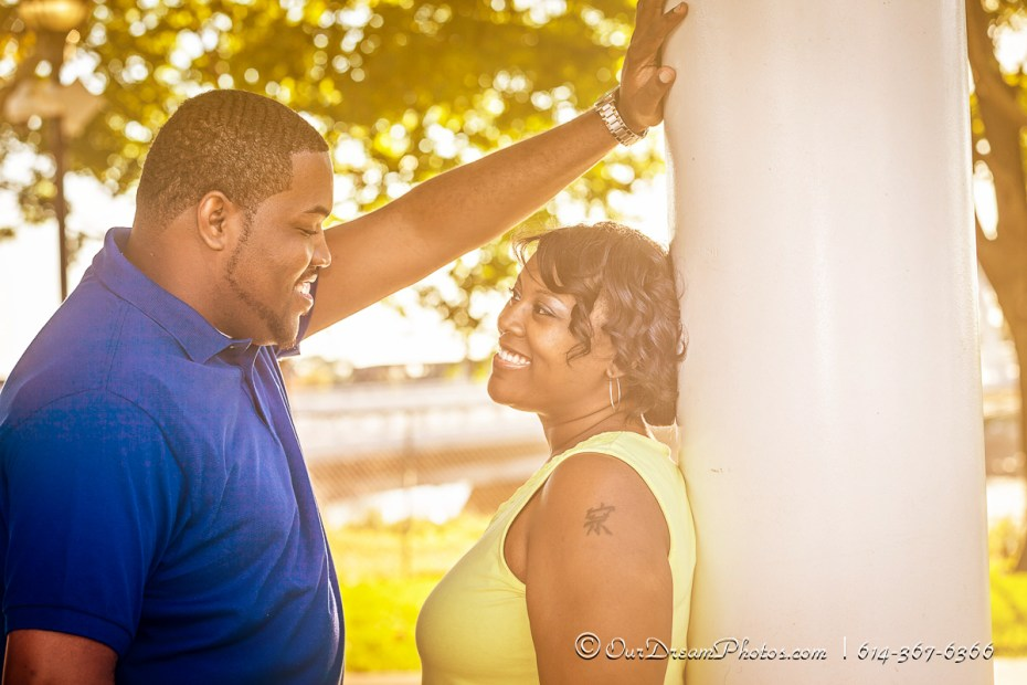Engagement session with Lynette Hunt and Charles Benson photographed Sunday, September 7, 2014 along the Scioto Mile. (© James D. DeCamp | http://OurDreamPhotos.com | 614-367-6366)
