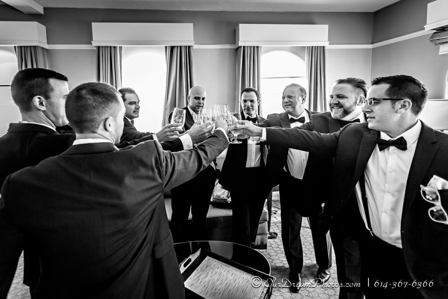 The groom & groomsmen getting ready before the wedding of Amelia Brown and Justin Schmiedel photographed Saturday, September 26, 2015 at the Westin in downtown Columbus, Ohio. (© James D. DeCamp | http://OurDreamPhotos.com | 614-367-6366)