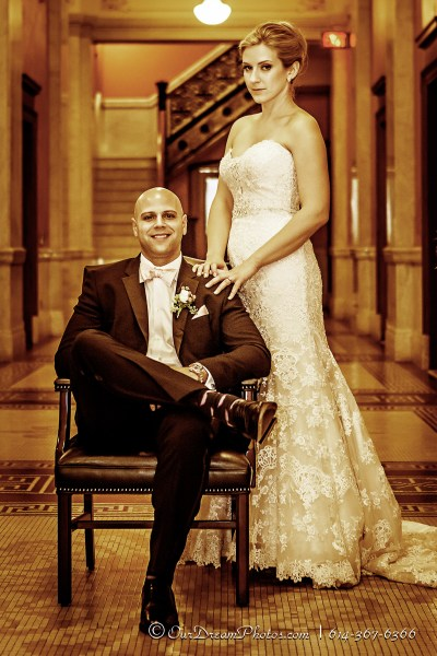 The wedding formals of Amelia Brown and Justin Schmiedel photographed Saturday, September 26, 2015 at the Ohio Statehouse in Columbus, Ohio. (© James D. DeCamp | http://OurDreamPhotos.com | 614-367-6366)