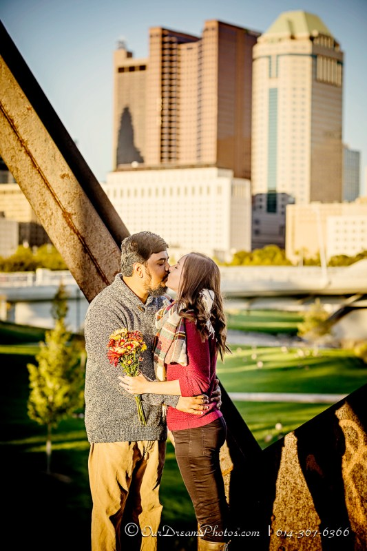 Engagement session with Emily Sites and Mike Manickam photographed Saturday, October 8, 2016 at the Scioto Mile. (© James D. DeCamp | http://OurDreamPhotos.com | 614-367-6366)