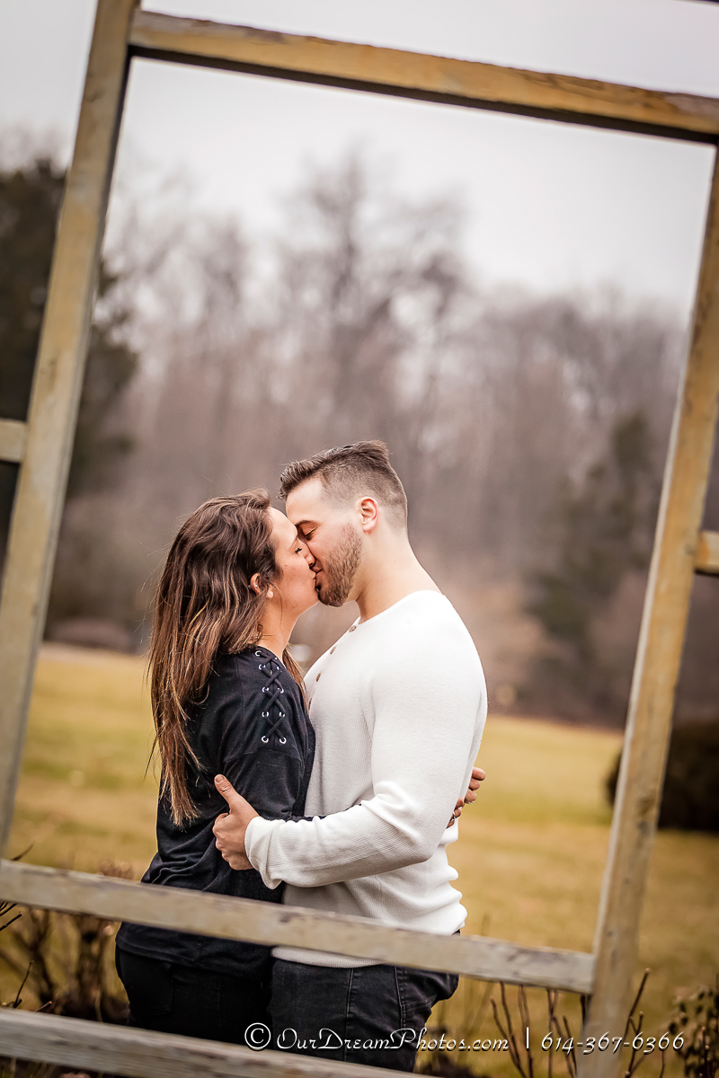 Engagement session with Kaitlin Moore and Greg Haras photographed Tuesday, December 19, 2017 at Innis Woods Metro Gardens and Uptown Westerville. (© James D. DeCamp | http://OurDreamPhotos.com | 614-367-6366)