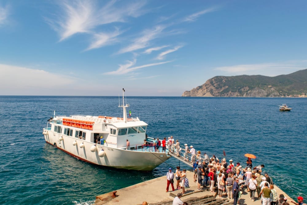 Visitors disembarking from a ferry in Vernazza, One Day in Cinque Terre