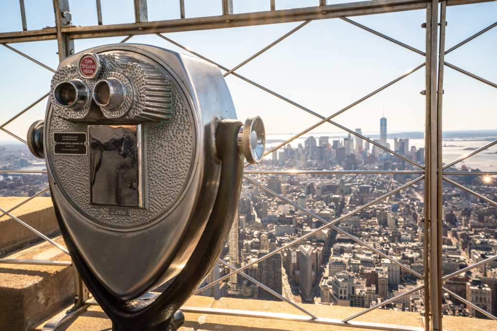 Empire State Building or Top of the Rock: View of binoculars at Empire State Building Observation Deck