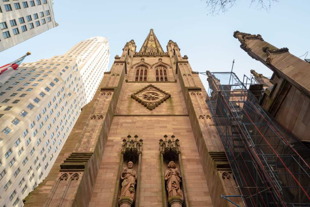 4 Days in New York Itinerary: Exterior of Trinity Church looking up