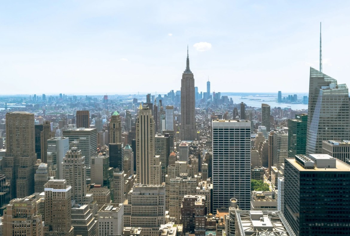 Top of the Rock vs Empire State Building: view of Empire State Building from Top of the Rock Observation Deck