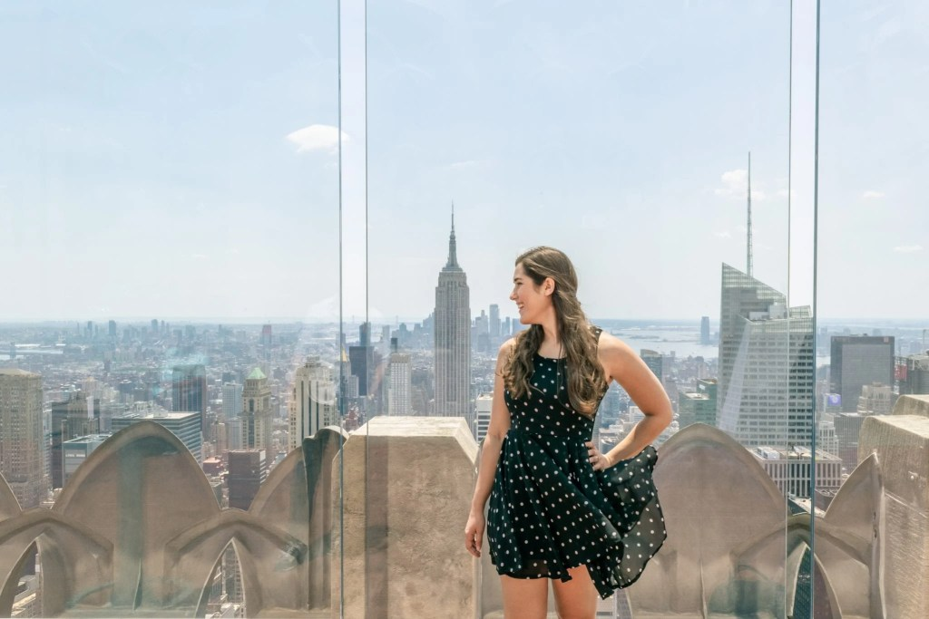 Top of the Rock or Empire State Building: Photo of Girl in a Dress at Top of the Rock