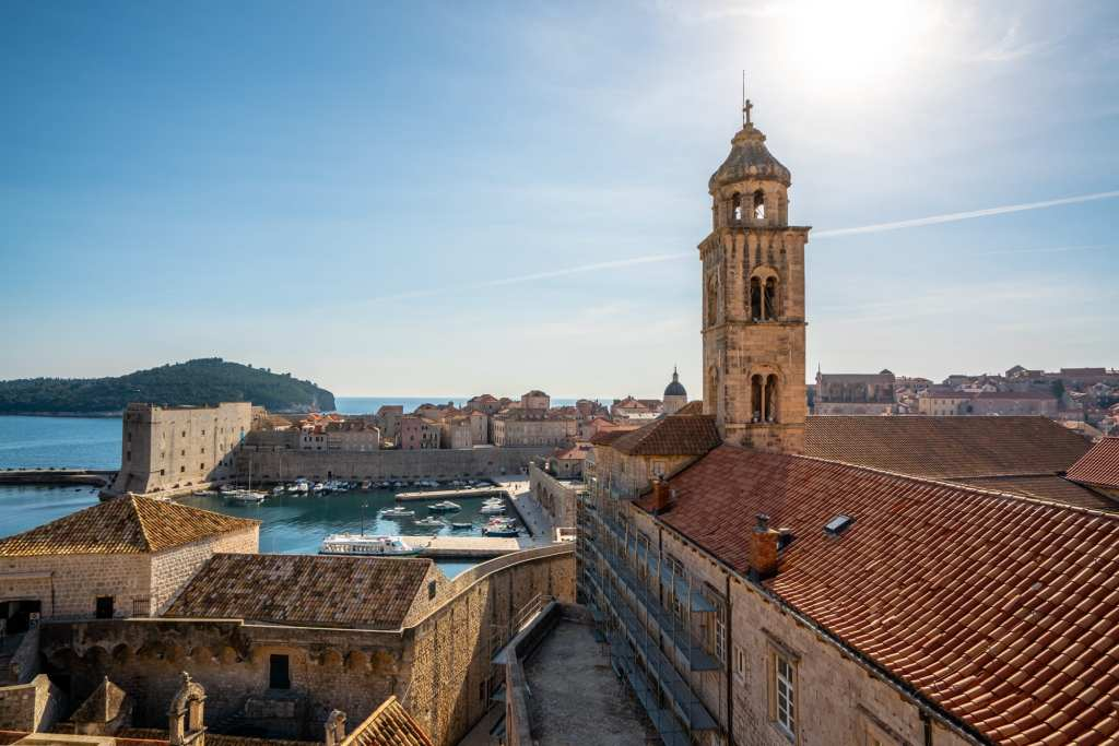 Fun Things to Do in Dubrovnik Croatia: overlooking town steeple city walls