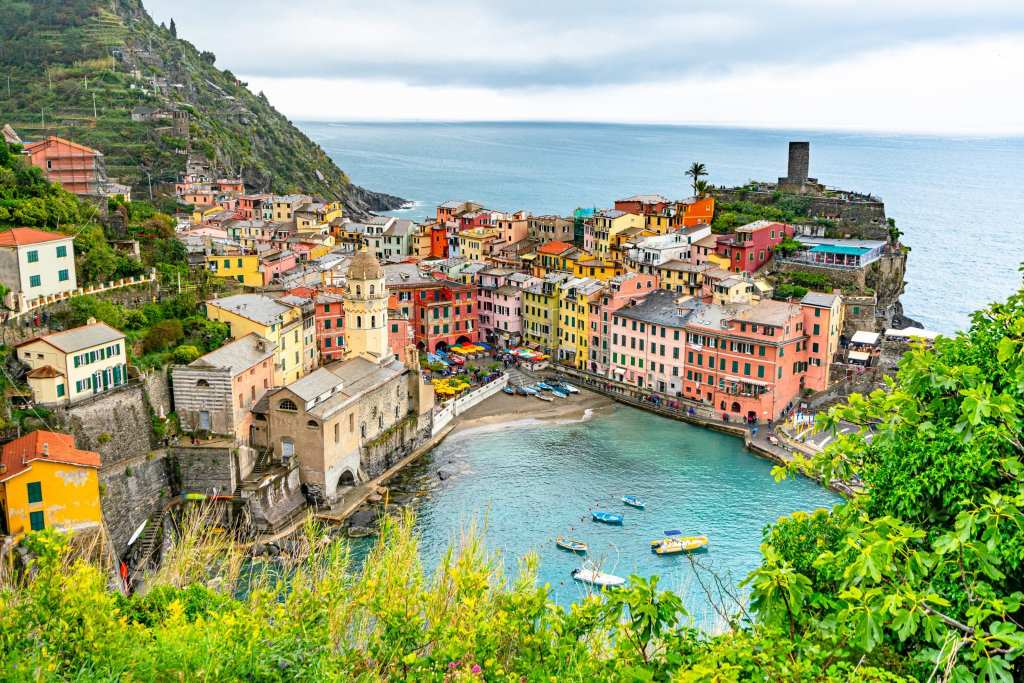 View of Vernazza harbor from above--worth adding to your list of sights when planning a trip to Italy!