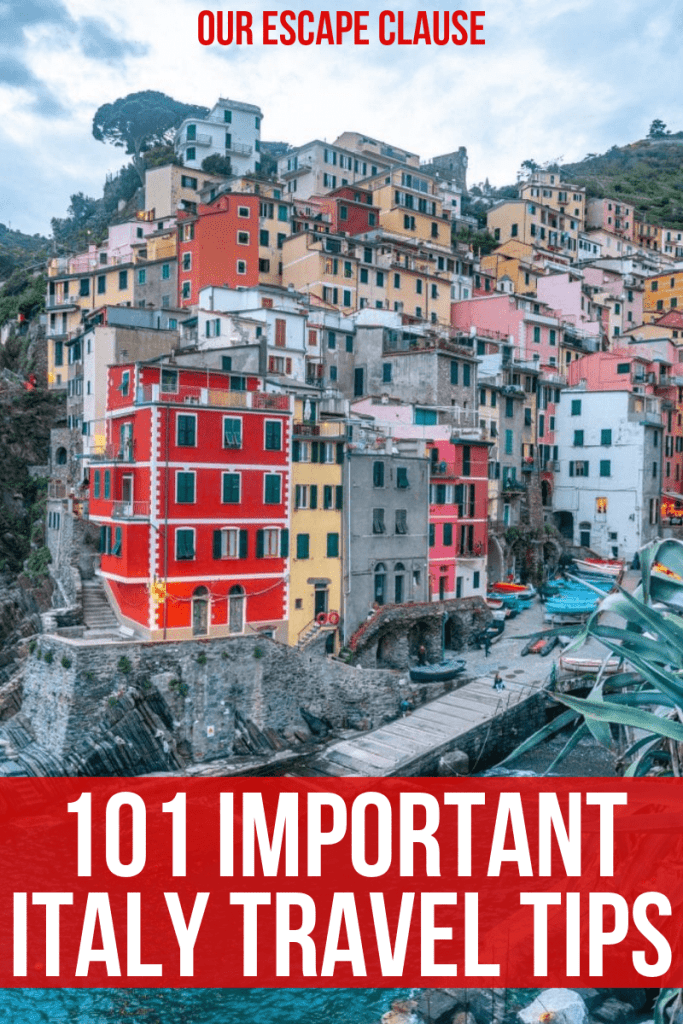 """Photo of Riomaggiore, Italy, with text overlay that says """"101 Important Italy Travel Tips"""" in front of a red background."""