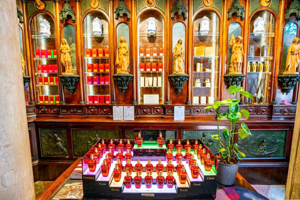 Interior of Merchant of Venice Flagship Store with perfumes, as seen in Venice Italy