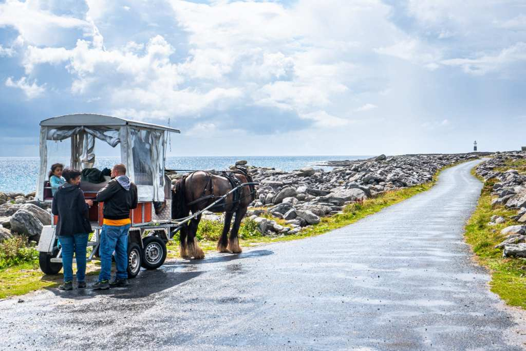 Pony and trap cart on the side of an empty road on Inisheer Ireland