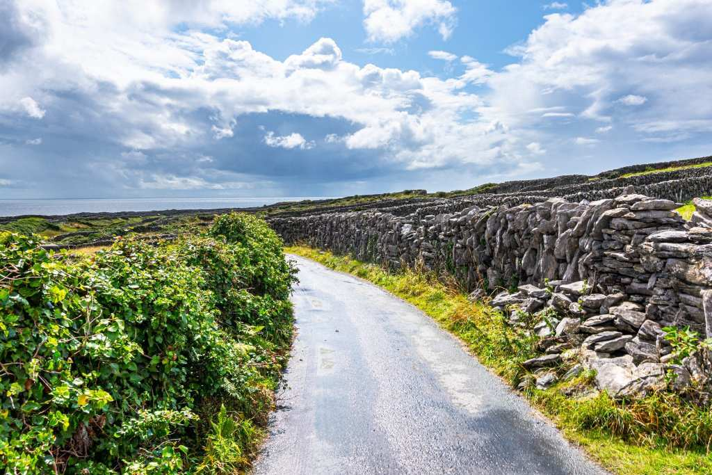 Road on Inisheer Island Ireland with stone walls to the right and greenery to the left