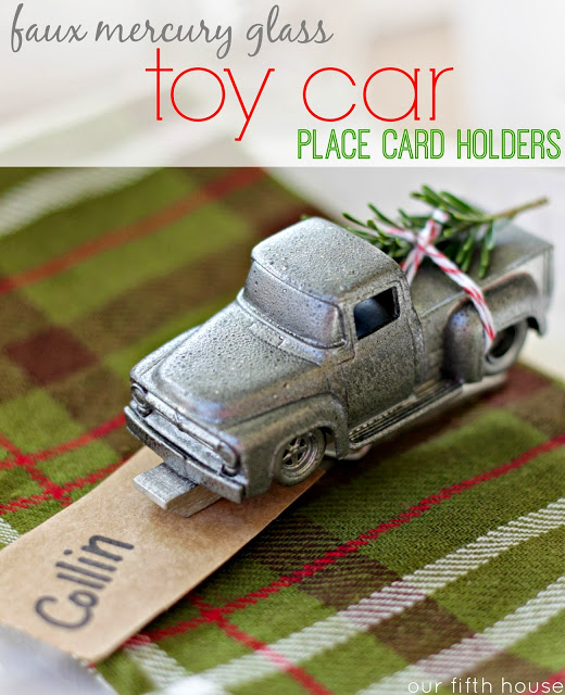 Faux Mercury Glass Toy Car Place Card Holders Our Fifth