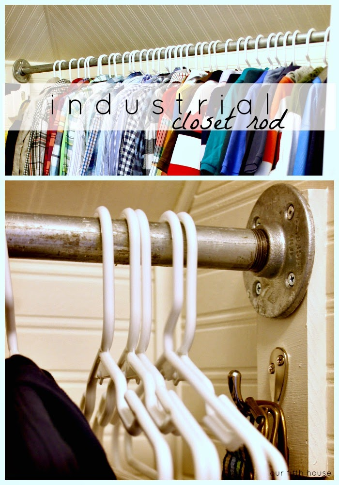 diy industrial galvanized pipe closet rod our fifth house. Black Bedroom Furniture Sets. Home Design Ideas