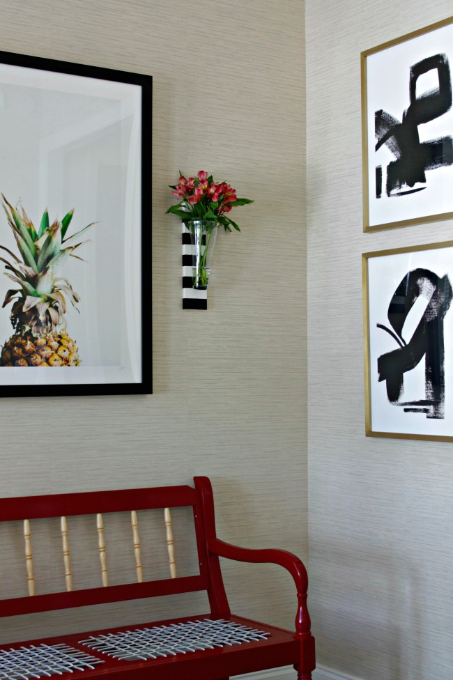 striped wall vases and entry foyer art - pineapple print, black & white abstracts