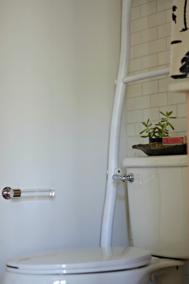 powder bathroom makeover - lucite tp holder