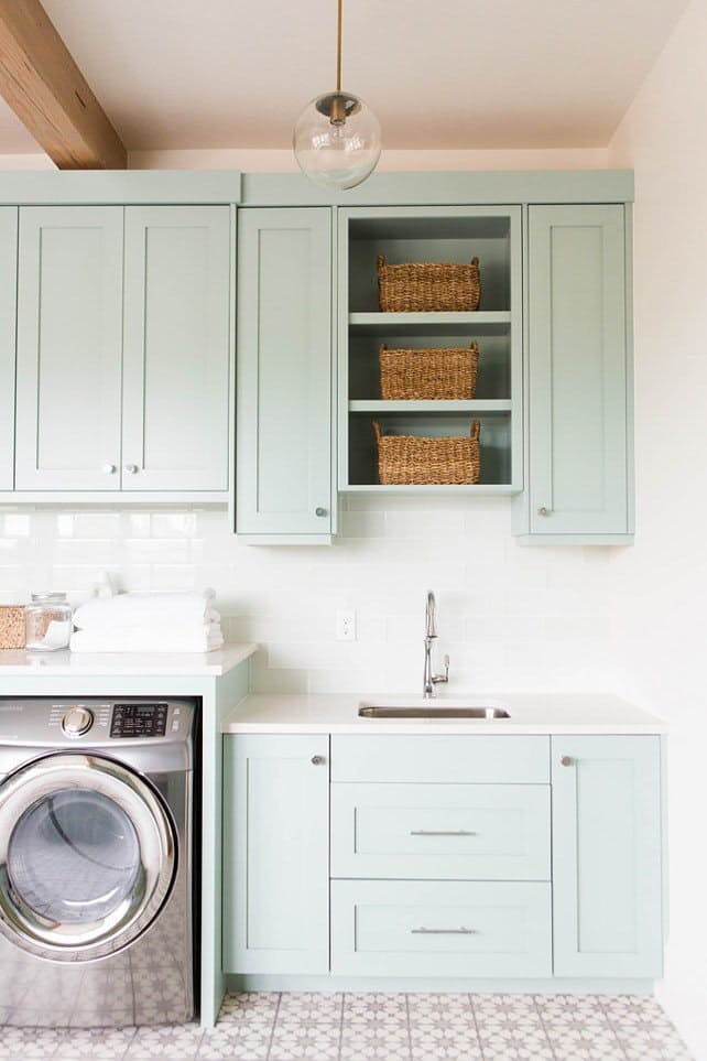 Laundry Room Before And Inspiration, Washing White Painted Cabinets
