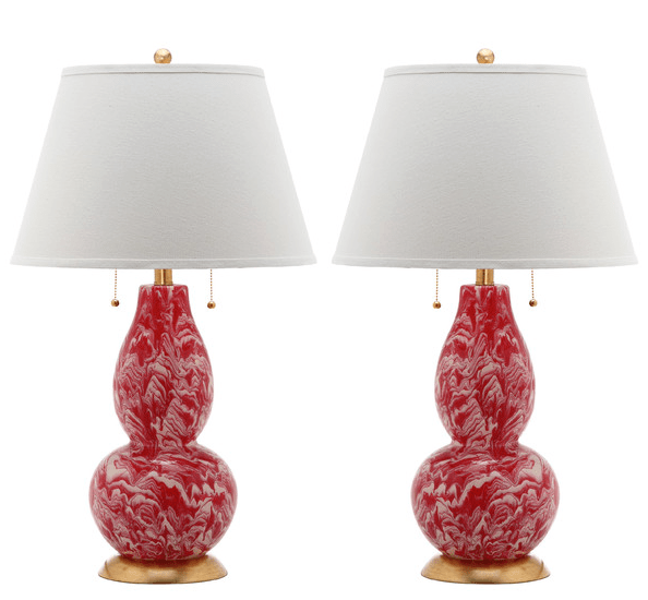 red and white lamp