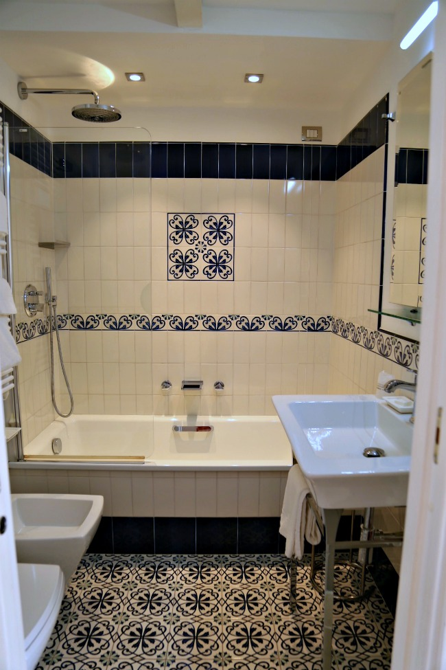 patterned tile in bathroom