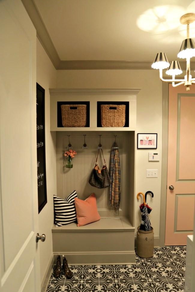 pink grey black and white mudroom laundry