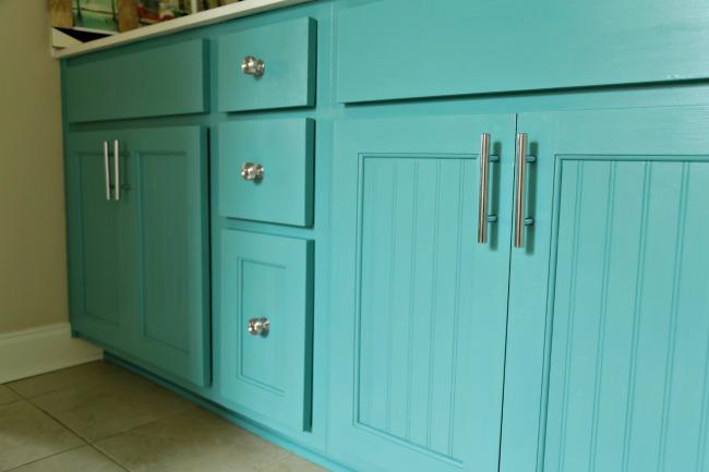 turquoise vanity chrome hardware