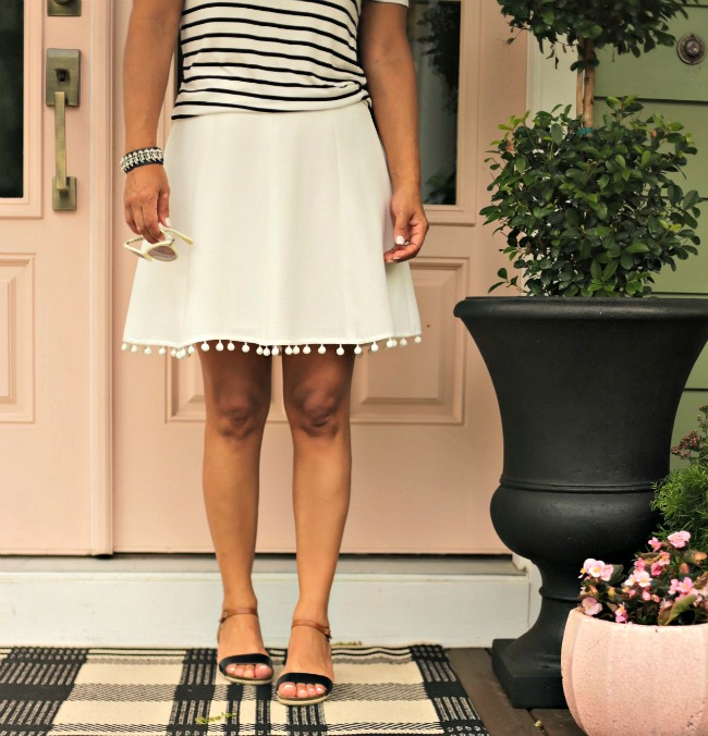 striped shirt pom pom skirt
