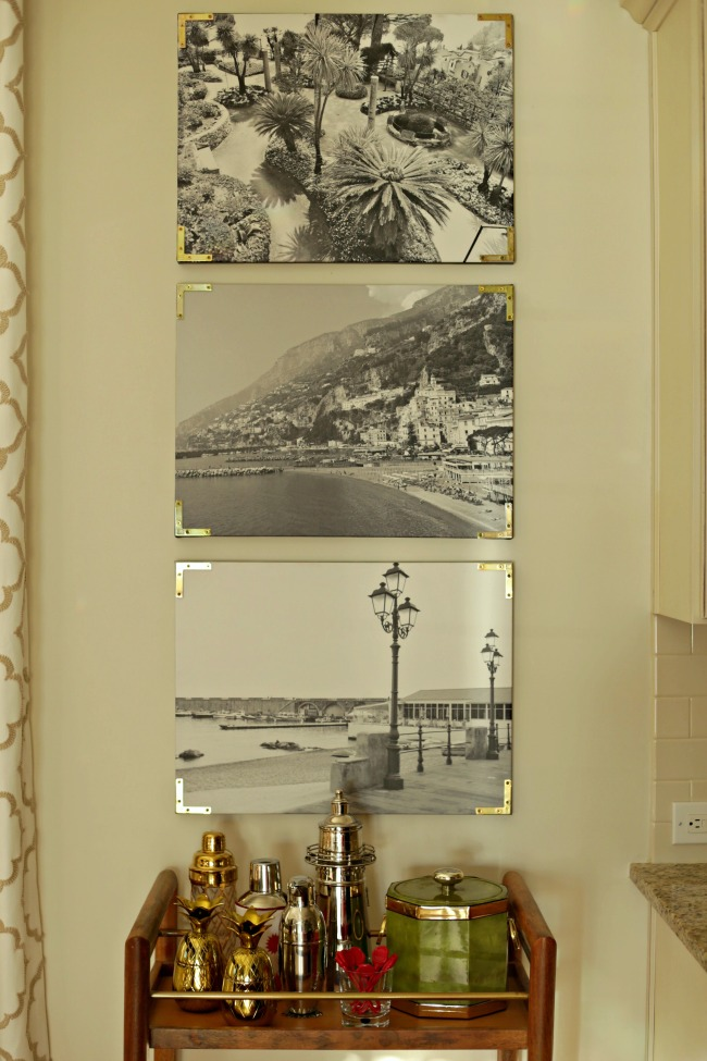 canvas prints with gold brackets