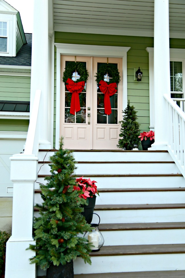christmas porch - pink door