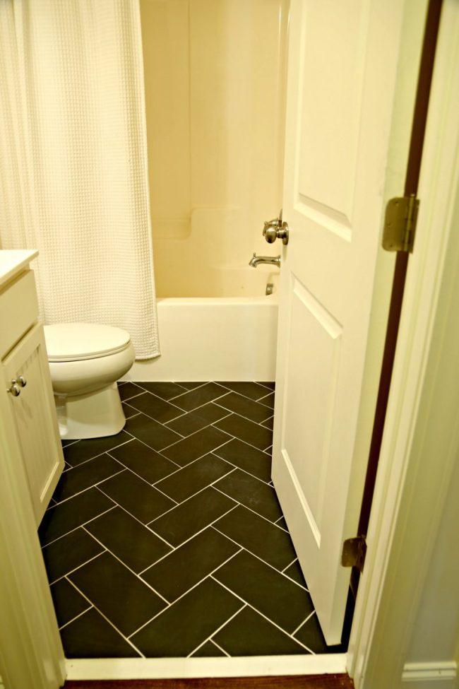 Small Bathroom Makeover Floor Tile
