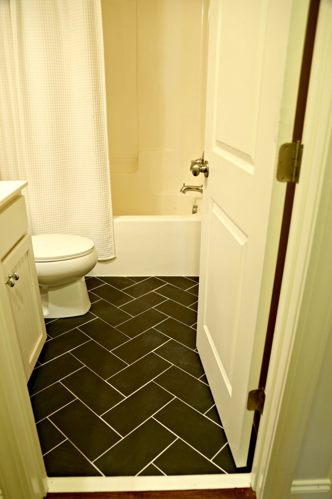 Small Bathroom Makeover Floor Tile Our Fifth House