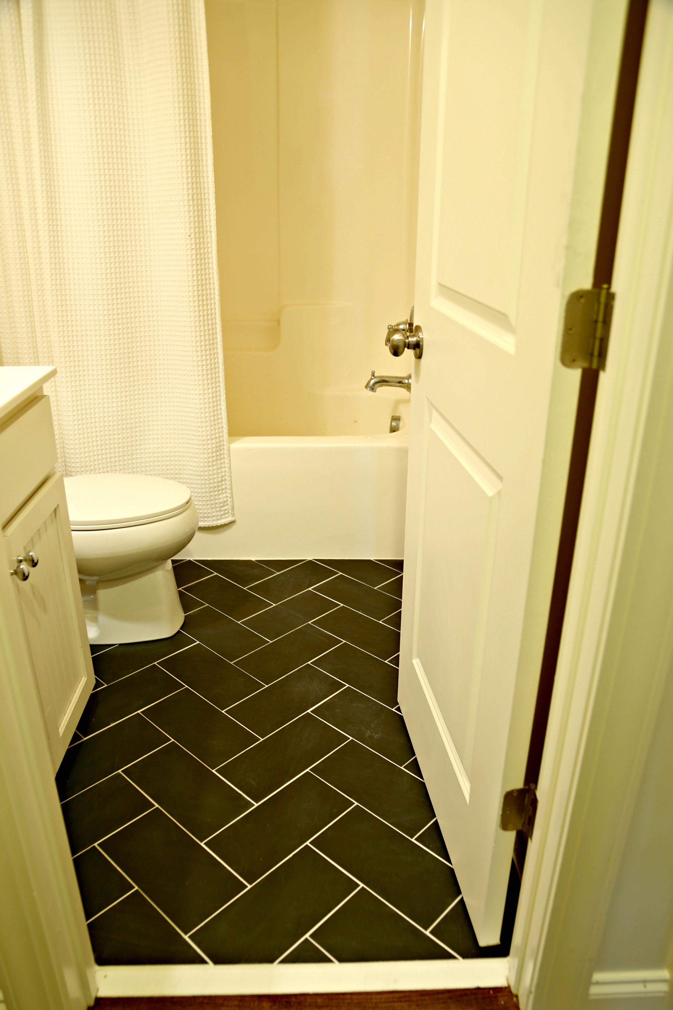 Bathroom Black Tile Herringbone Floor