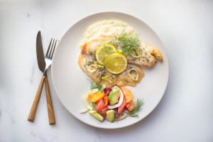 Complete Dinner - White Fish, Puree, and Salad