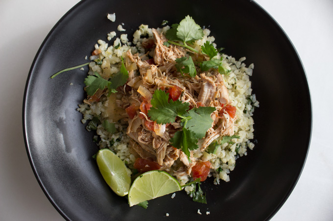 Slow Cooker Mexican Chicken with Cilantro Lime Cauliflower Rice