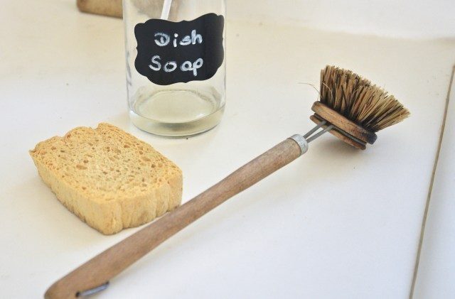 wooden dish brush, cleaning essentials