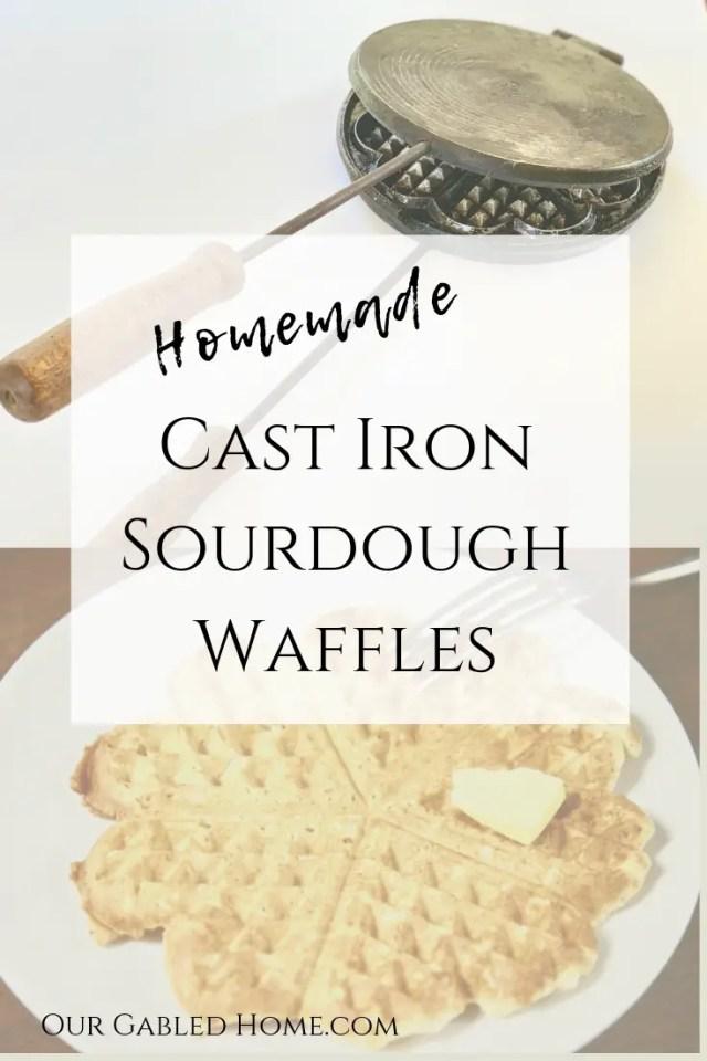 homemade cast iron sourdough waffles